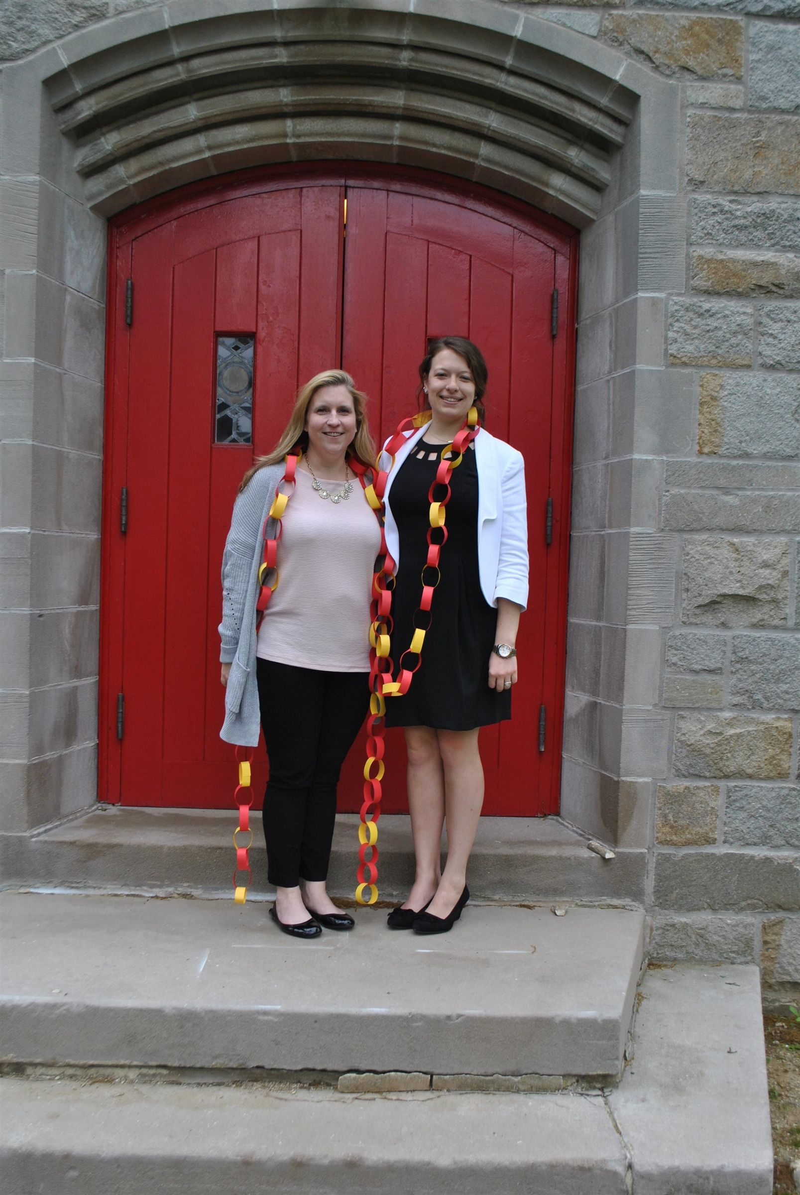 Greetings from the Red Doors of Muhlenberg - staff Carolyn Davis Hedges '97 and Marissa Zondag '09!