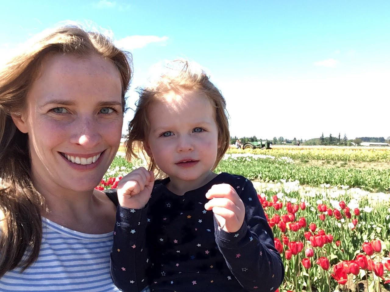 Happy 275th from the red and gold tulip fields of Oregon - Emily Auerbach Rake '01, daughter Simone and brother John Auerbach '05