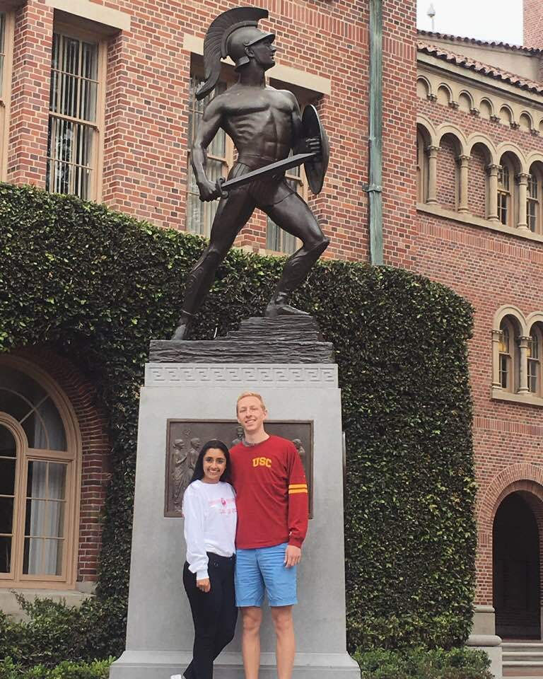 Birthday greetings from the University of Southern California! Nina Hart '17 and Oliver Scott '17
