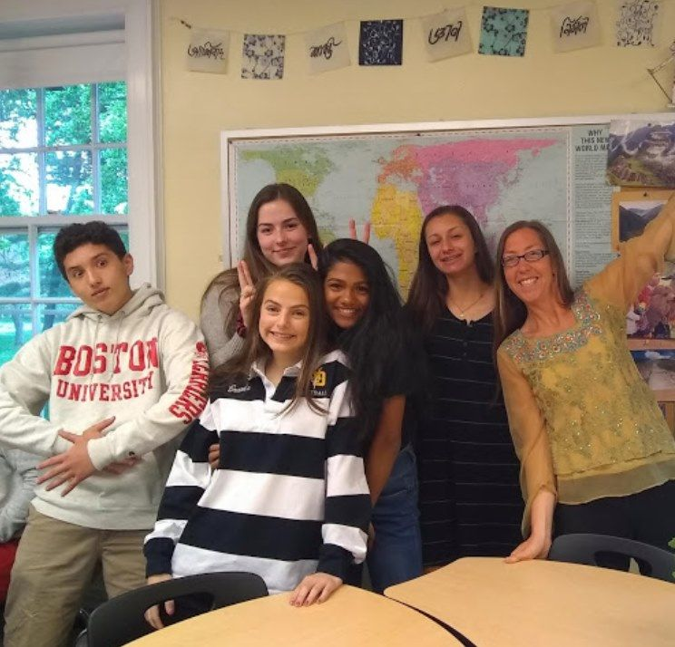 Greetings from Mrs. Katie Burd '96's World History Class!