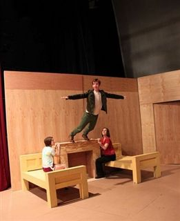 Peter shows the Darling children how it's done. Flying by Foy came to the High School to teach the cast how to fly