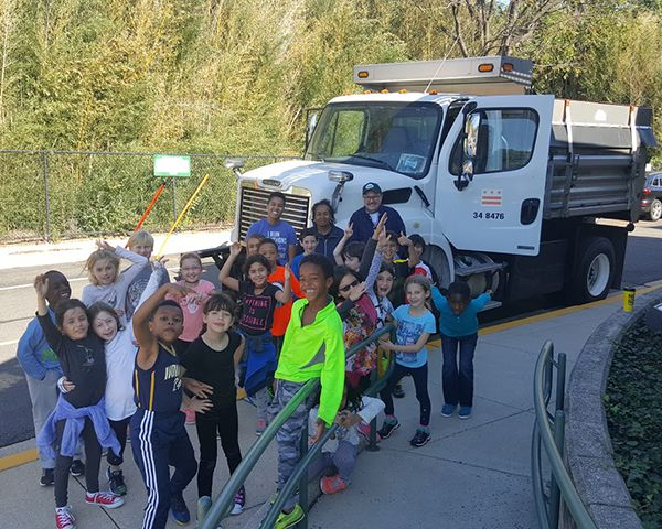 Lower School students learn about environmental sustainability and recycling.