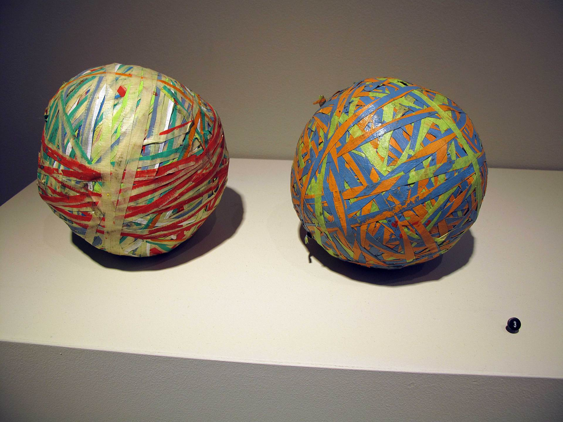 3. Julie Oppermann <br> Tape Balls, 2010-2012<br> masking tape and acrylic paint<br>