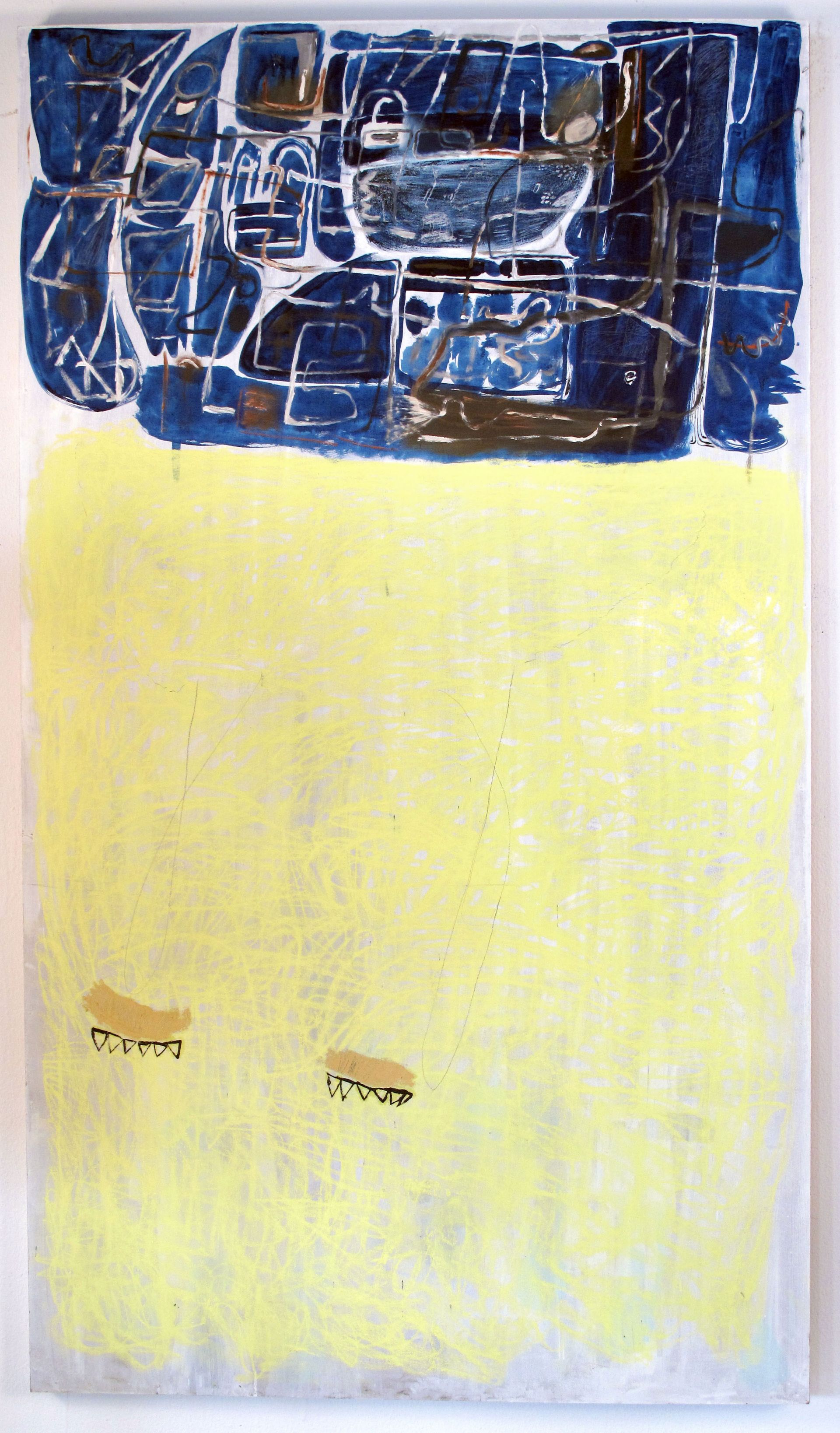 10. Kelly Zutrau<br> <i>Cat in Heat in Greece</i>, 2010<br> gouache and pastel on Masonite<br> 58 x 33.25 inches
