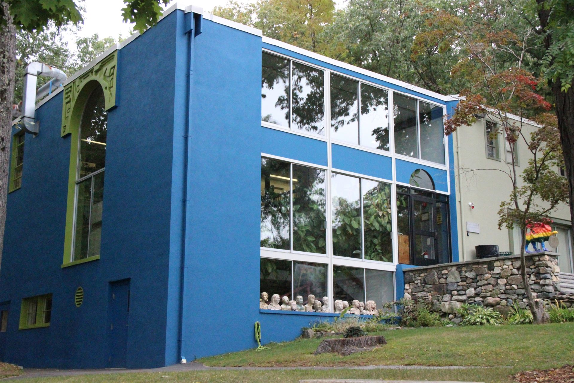The Art Building provides classroom, equipment, and studio space for the visual arts. The building houses darkrooms, sculpture and pottery studios, classrooms for drawing and painting, as well as the YUM Lab, a digital media laboratory for students interested in taking classes in the digital arts.