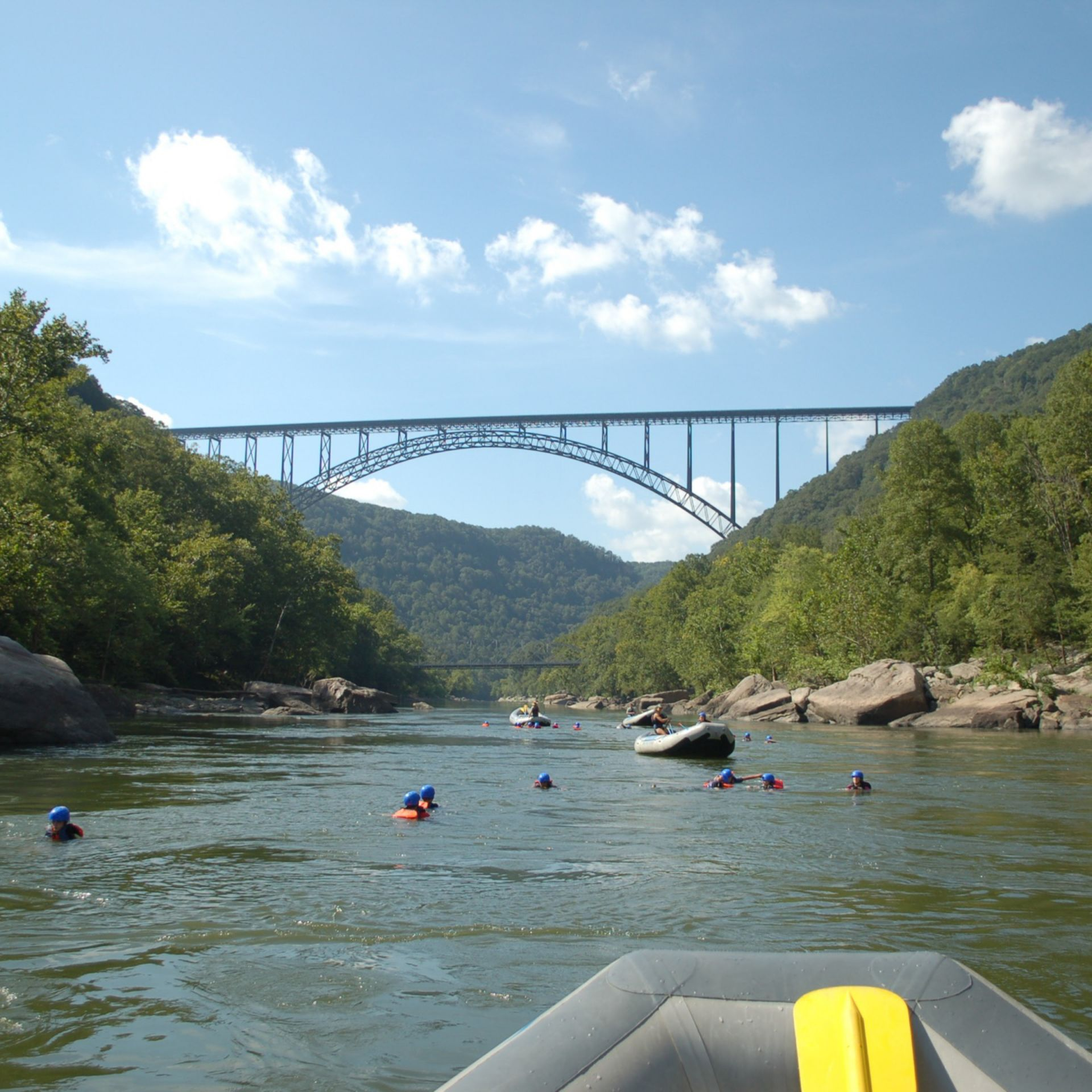 Rafting along the Lower New River, WV.