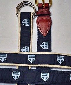 Cape Code ribbon belts, two styles (leather buckle or adjustable D-ring), each $21.00.
