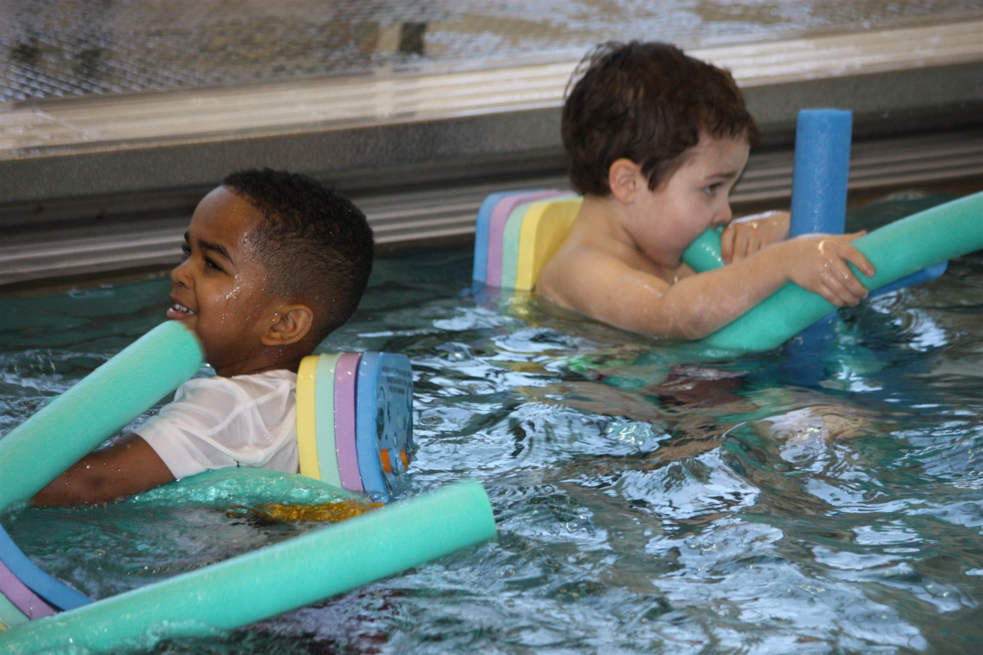 Elementary school students take swim classes in Hamden Hall country day school's pool