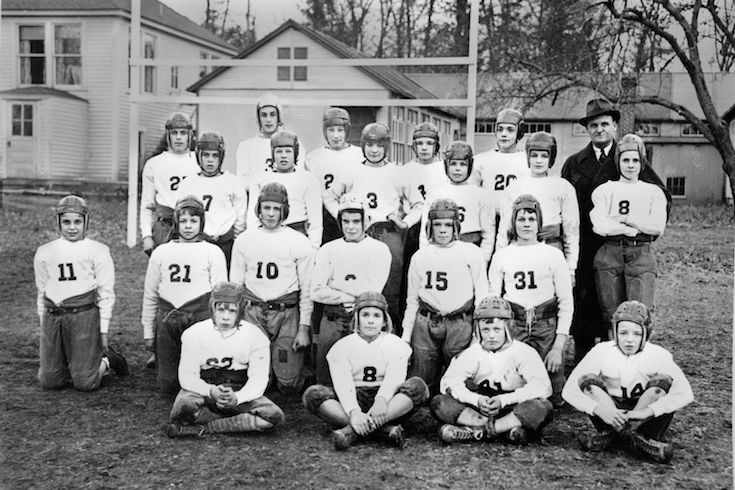 early 1900's private school Assembly Room,The 1920 Hamden Hall high school football team