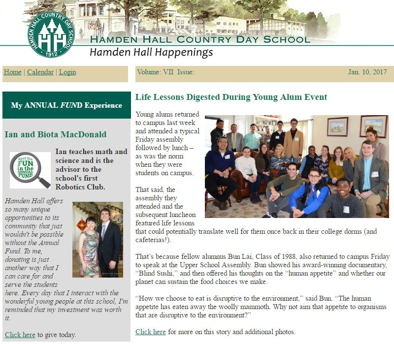 Hamden Hall,Private high school,published article on Young Alumni