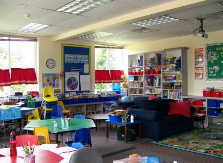 Comfy and colorful furnishings in a Lower School classroom.