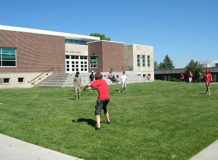 Stamper Commons, bordered by the Music Center, Lower School, Middle School and Raether Library, is a popular place for wide games.