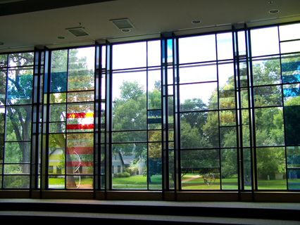 The stained glass window in the choir room is a visual representation of Beethoven's 5th Symphony.