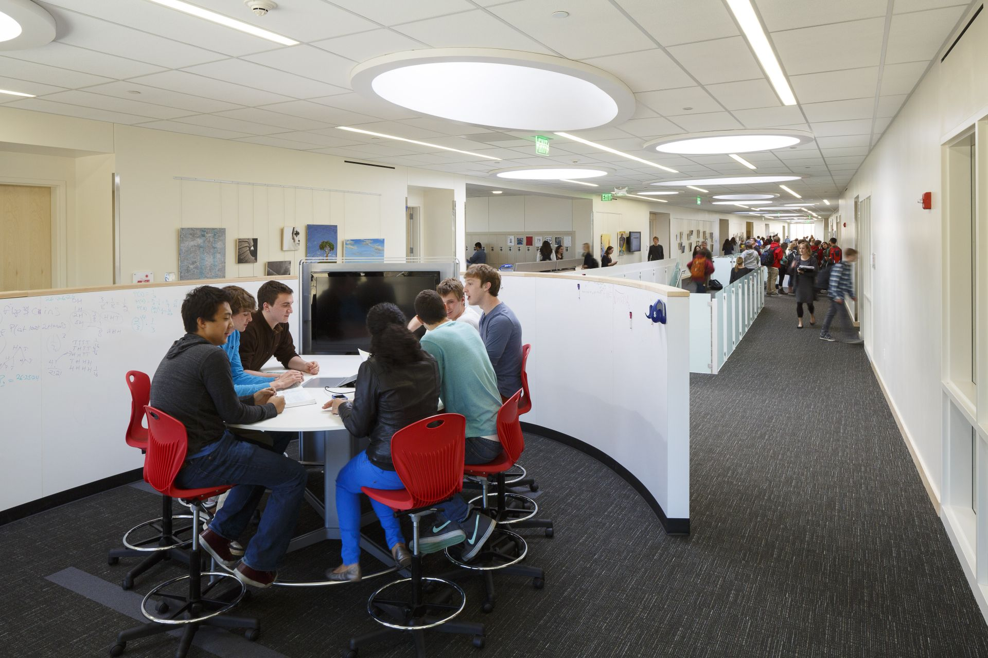 A media center sparks conversation and supports small-group interaction.