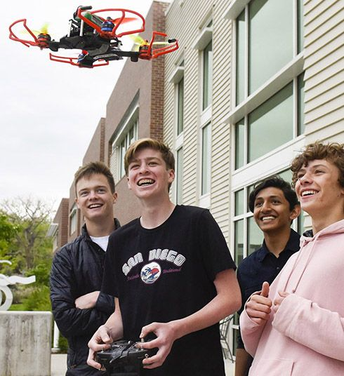 Boys with drone