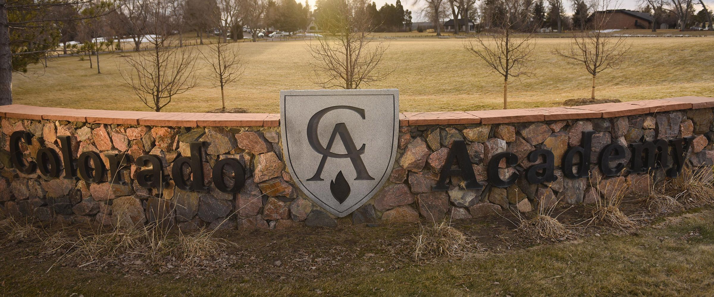 The entry sign at Colorado Academy, a top Pre-K-Grade 12 school in Denver.