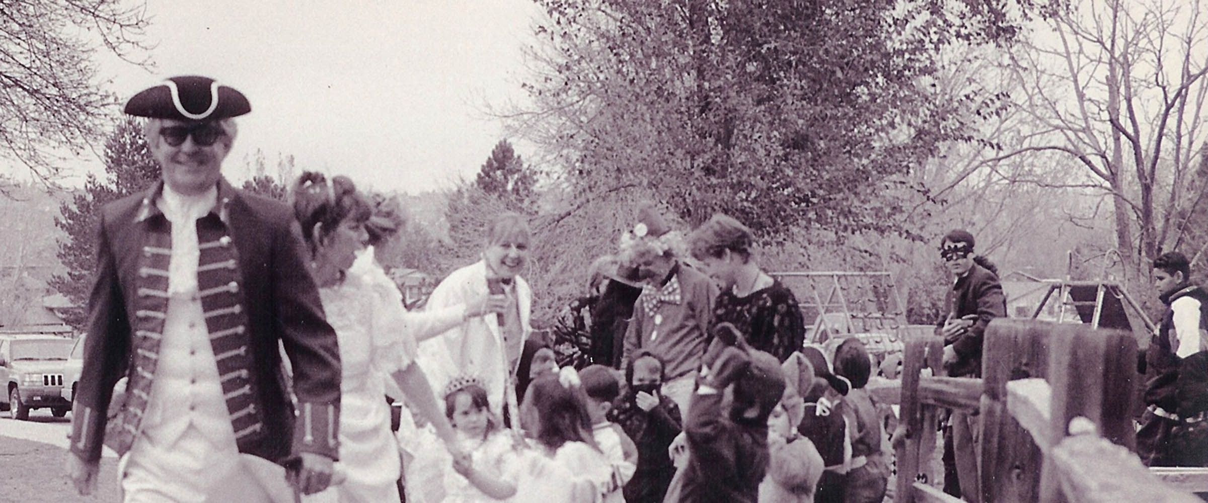 Lower School Principal Tom Fitzgerald leads the annual Halloween Parade at Colorado Academy, a top PK-12 private school in Denver.