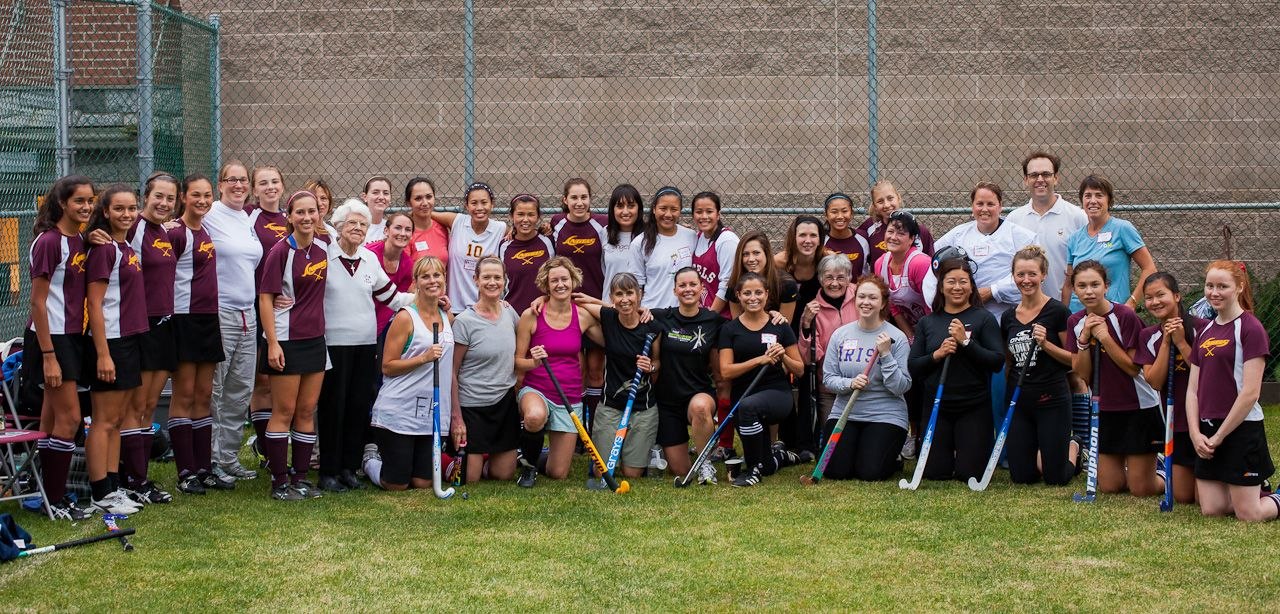 All participants at the 2012 Alumnae Field Hockey Game