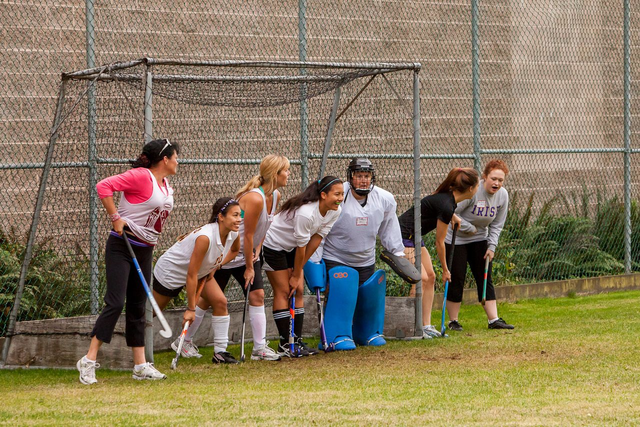 2012 Alumnae Field Hockey Game (note how many back on this short corner)