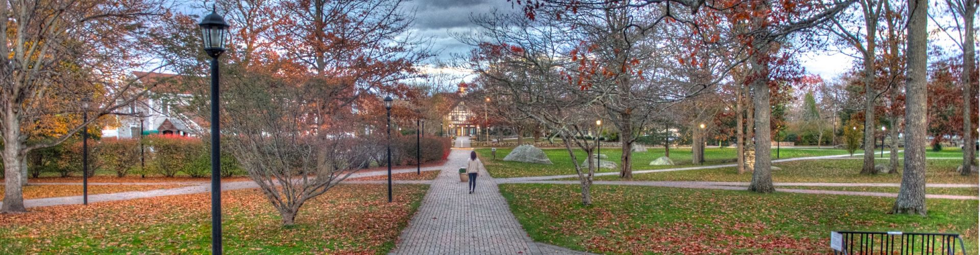 Fall view of Lillard Hall & Dining Hall at Tabor Academy