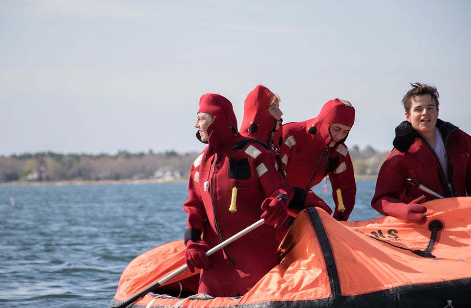 Tabor Nautical Science Students in Survival Suit