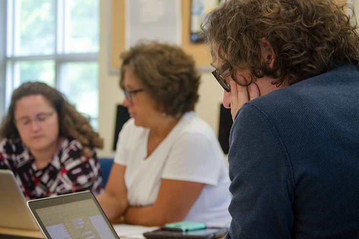 "Severn School teachers at a summer professional development session."" width="