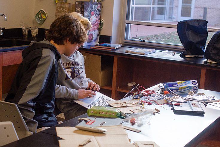 "Severn School seventh graders working through a design challenge."" width="