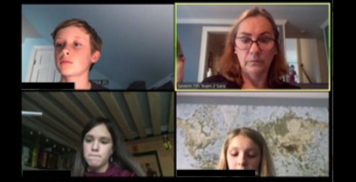Severn School students on a Zoom meeting.