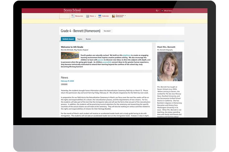Screenshot of Severn School learning management system bulletin board feature.