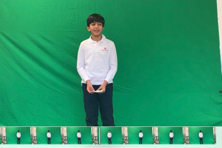 Severn School Lower School student recording a green screen video