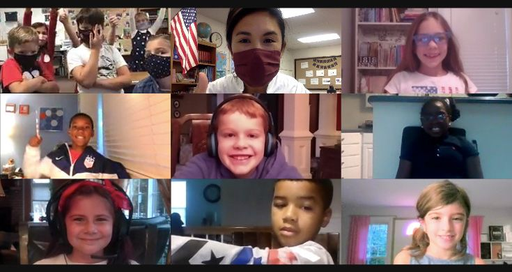 Severn School elementary and high school students on Zoom.