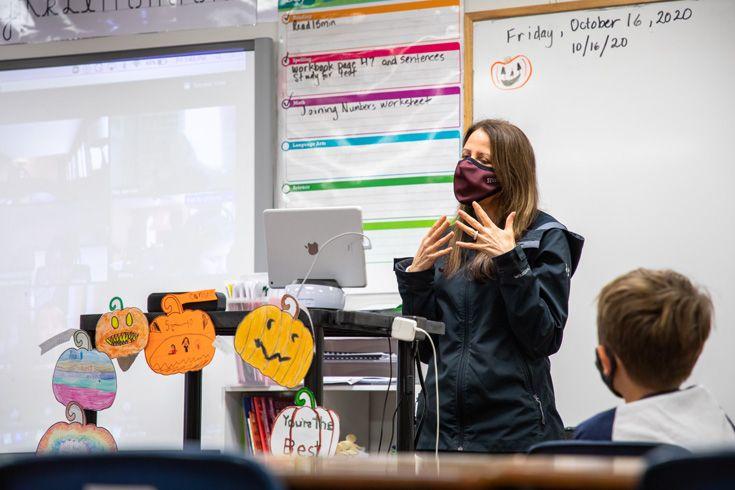 Severn School elementary school teacher in a hybrid classroom.
