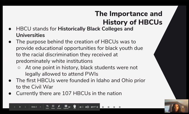 Screenshot from the Zoom presentation on Historically Black Colleges and Universities