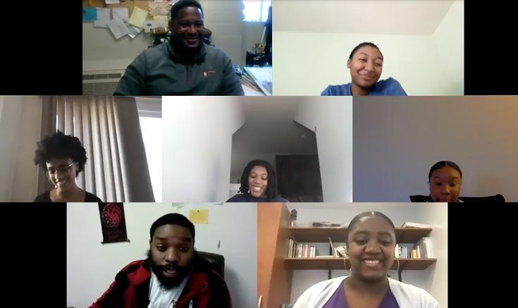 Members of the Upper School club Multicultural Alliance on Zoom.