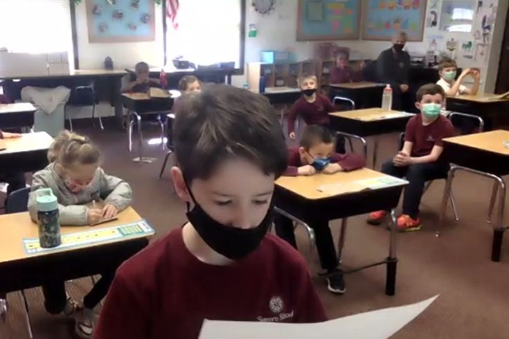 Severn School first grader asking a question on Zoom.