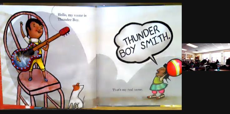 Screenshot of the children's book on the Zoom screen.