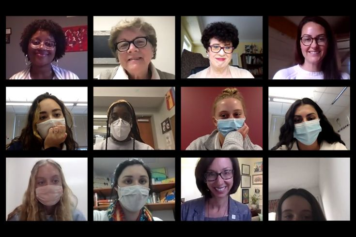 Severn School alumnae and students from clubs on Zoom.