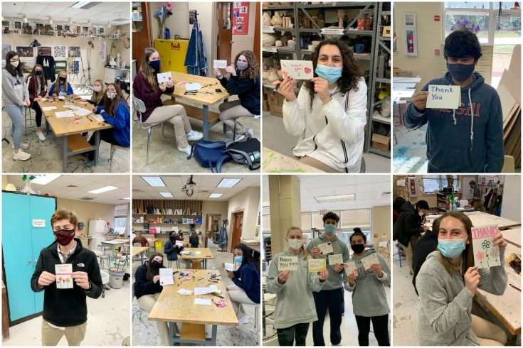 Collage of Severn School students making cards for healthcare workers.
