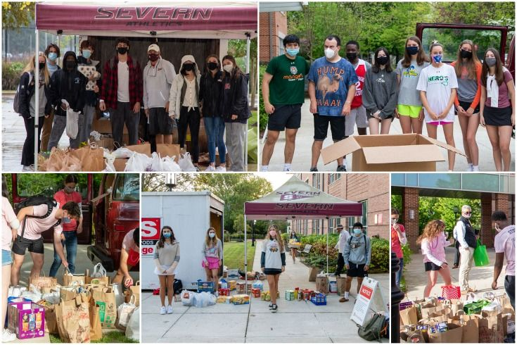 Collage of Severn School students collecting items for the food drive.