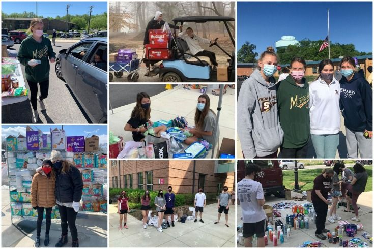 Collage of Severn School students working for the Tyler Heights Pop Up Pantry.