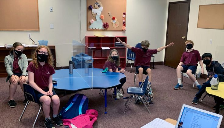 Severn School 5th Grade Battle of the Books team in a classroom.