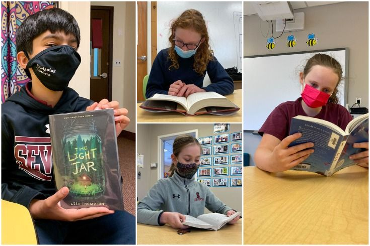 Collage of Severn School students reading books.
