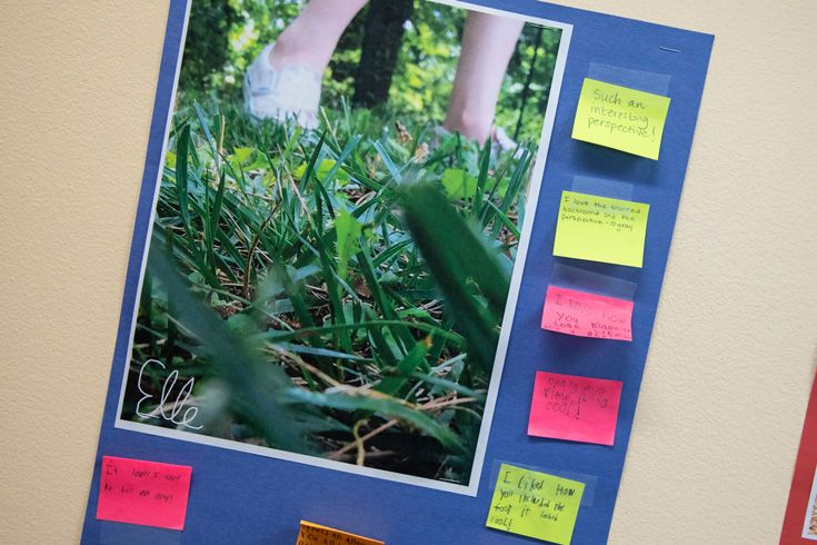 Photo of summer camp photography project with feedback on sticky notes.