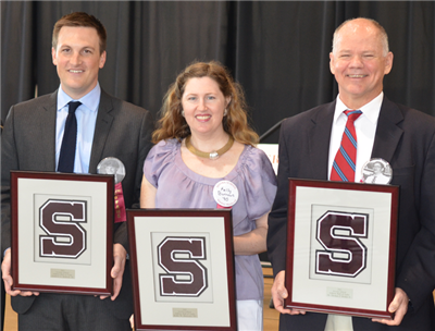 Andrew L. Habeck '01, Kelly W. Burrows '90, and Coach Dr. Thomas P. Heslin Jr