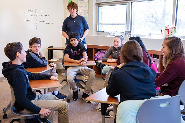 Severn School middle school students in class.