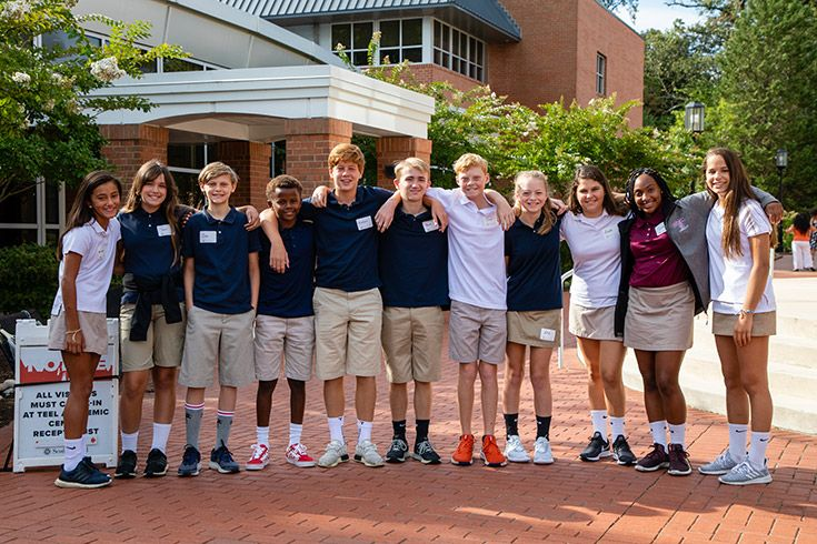 Severn School students in a group on Teel Campus