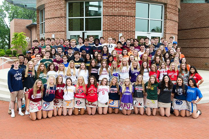 Severn School high school students at wearing college tshirts.