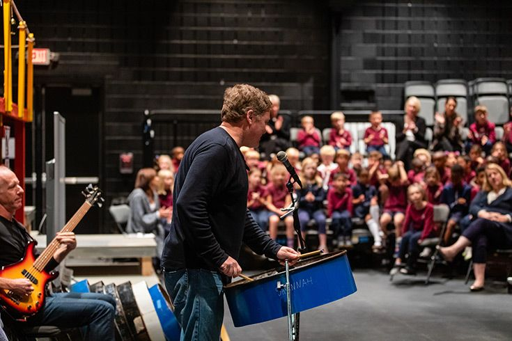 Kevin Martin of Rockcreek Steel Drums plays a concert for Severn School Lower School.