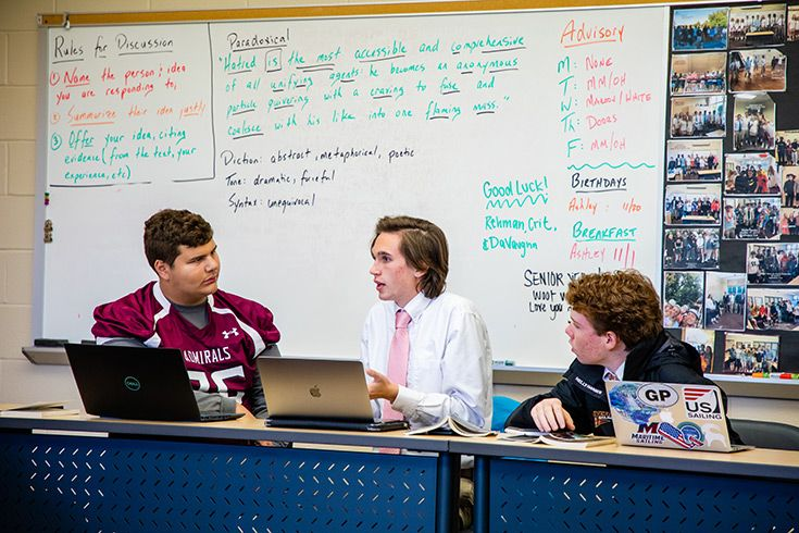 Severn School high school students debating in class.