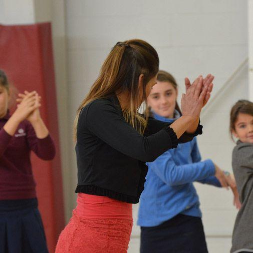 Anna Menendez demonstrating flamenco dancing